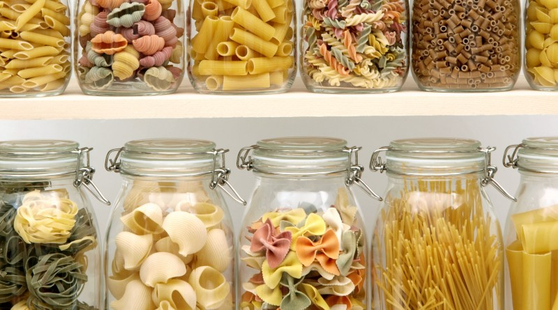 Jar filled with pasta