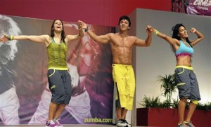 Alberto Perez, founder of Zumba Fitness, performs on stage during a meeting in Rimini